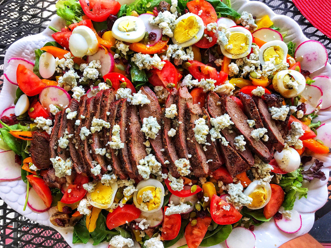 flat iron steak, steak salad, steak preparation tips, traeger grilling, summer meals, main course salad, eating local beef, beef preparation tips, grilling for a crowd, family meals